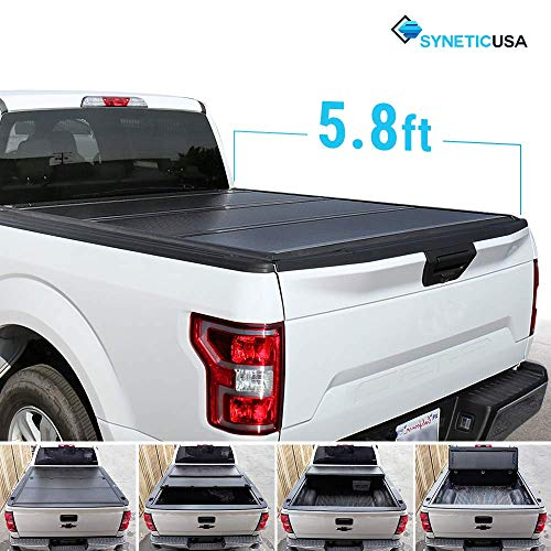 (Syneticusa Aluminum Hard Folding Tonneau Cover Tri-Fold Cargo Truck Bed Cover for 2014-2018 Silverado/Sierra 5.8ft Short)