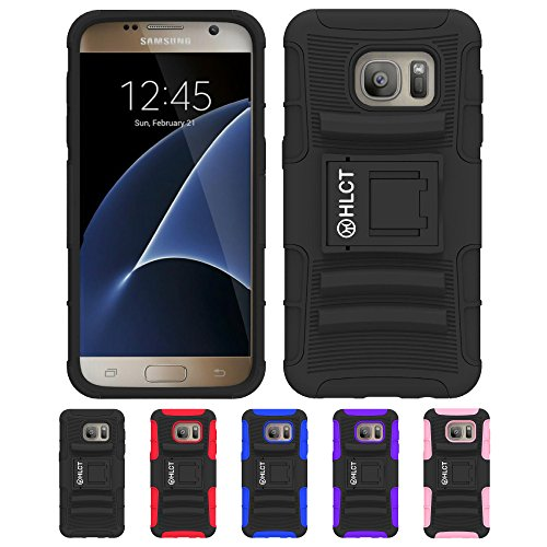 Galaxy S7 Case, HLCT Rugged Shock Proof Dual-Layer PC and Soft Silicone Case With Built-In Kickstand for Samsung Galaxy S7 (2016) (Black)