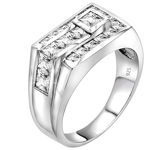 Sterling Manufacturers Men's Sterling Silver .925 Ring Featuring Channel Set Square Cut Cubic Zirconia (CZ) Stones, Platinum Plated