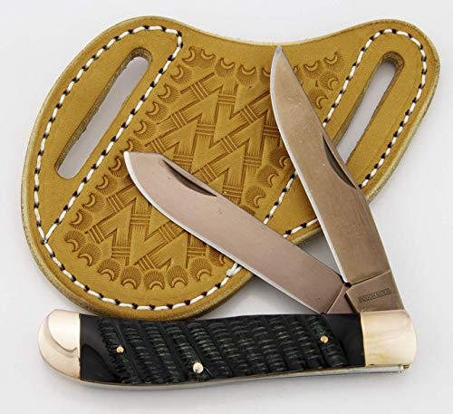 (Slanted Pancake Sheath byTOP HAND GEAR with ROUGH RIDER COPPER RIDGE Trapper knife, Package Deal)