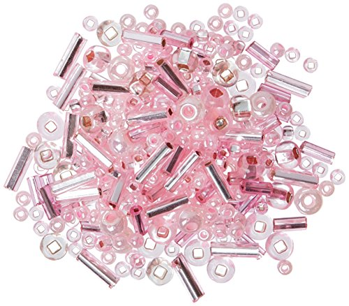 Beaders Paradise LTCGM9 Czech Glass Rose Mix of Bugles 6/0 E-Beads and 10/0 Seed Beads in a Tube (Bugle Beads Pink)