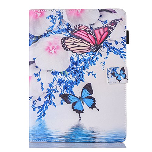 Ademen iPad Pro 10.5 inch Leather Case, Blue Butterfly White Flower Protective Lightweight Folio Smart Case Cover with Magnetic Auto Sleep Wake Function Only for iPad Pro 10.5 -
