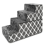 Best Pet Supplies Foldable CertiPUR-US Certified Foam Pet Stairs/Steps - Gray Lattice Print, 4-Step (H: 22
