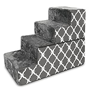Made in USA Foldable Pet Steps/Stairs with CertiPUR-US Certified Foam by Best Pet Supplies – Gray Lattice, 4-Steps (H: 22″)