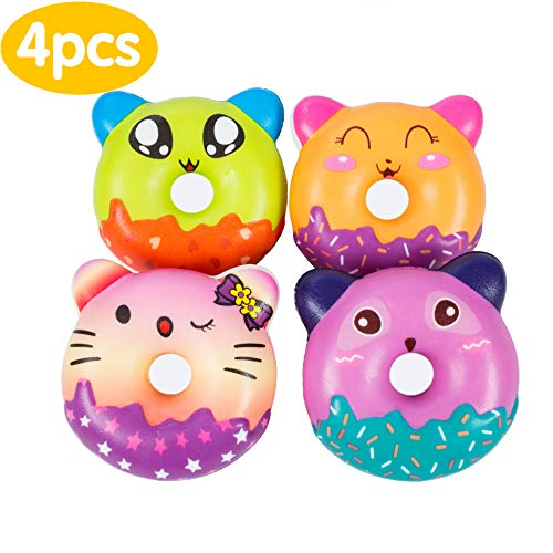 AILIMY 4PCs Squishies Slow Rising Kawaii Cute Colorful Galaxy Donuts Creamy Scent Jumbo Squishy Kids Toy Prime Animal Party Supply , Decompression Decorative Props