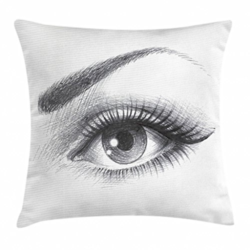 Eyebrow Accent - Ambesonne Eye Throw Pillow Cushion Cover, Pencil Drawing Artwork of a Staring Female Eye with Long Lashes and a Curvy Eyebrow, Decorative Square Accent Pillow Case, 18 X 18 Inches, Grey White