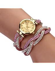 changeshopping Fashion Women Crystal Bracelet Watch Dial Quartz Analog (pink)