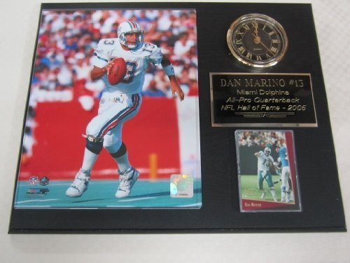 Dolphins Dan Marino Clock Plaque w/8x10 Photo and Card (Marines Clock Collectible)