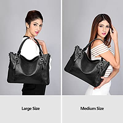 S-ZONE Women's Vintage Genuine Leather Tote Large Shoulder Bag with Outside Pocket