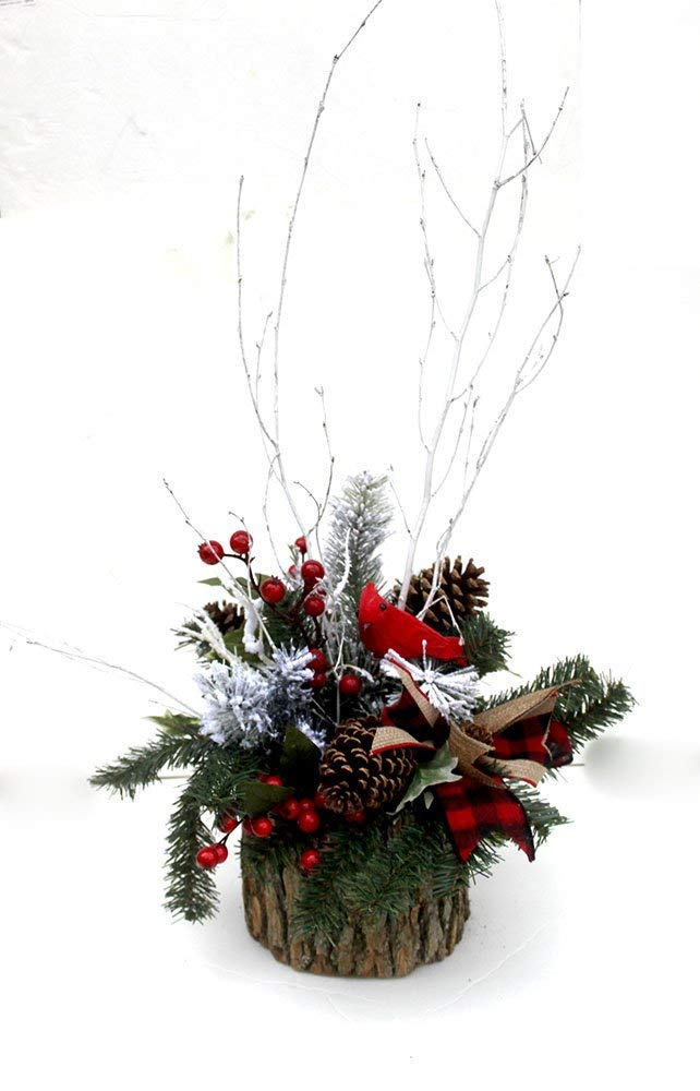 Christmas Table Arrangements Flowers.Amazon Com Christmas Table Centerpiece Rustic Arrangement