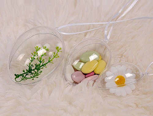 KEIVA Clear Plastic Acrylic Fillable Egg Shape Ball Ornament 100mm - Pack of 10 (Egg Size 100mm) - Ornament Trinket