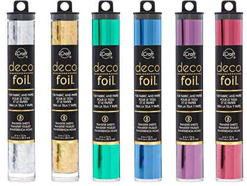 Deco Foil - Transfer Sheets - 2018 Colors - Silver Shattered Glass, Gold Shattered Glass, Jade, Denim, Plum & Wild Cherry - Bundle of 6 Packages