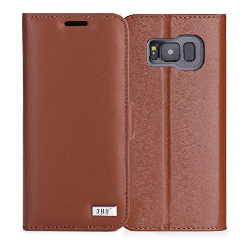 FYY Galaxy S8 Case, Premium Genuine Leather 100% Handmade Wallet Case Credit Card Protector for Samsung Galaxy S8 Dark Brown