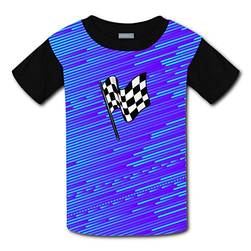 Qualra Kids Fashion Checkered Flag 3D Print T-Shirts Short Sleeve Tees