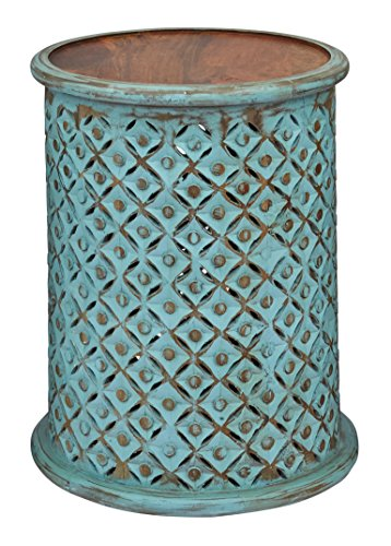"""Jofran 1730-17TRQ Global Archive Drum Table - Turquoise, 17"""" W X 17"""" D X 23"""" H, Finish, (Set of 1)"""
