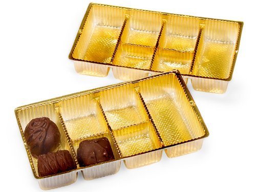 Pack Of 200, 6.25 X 3.5 X 1'' Medium Rectangle Solid Gold Candy Trays W/6 Sections