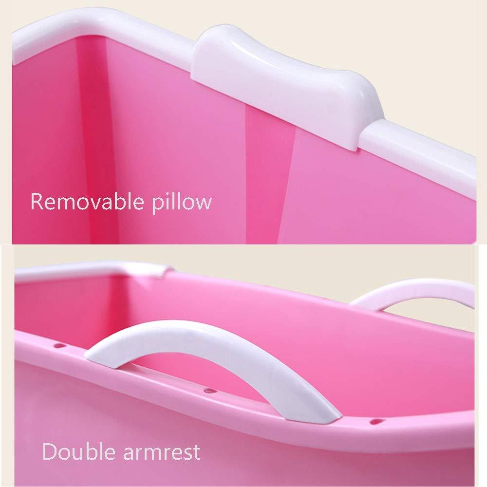 Couleur : Rose DEI QI Baignoire pliante pour adulte portative Baignoire en plastique pour adulte Mati/ère molle non toxique de qualit/é alimentaire