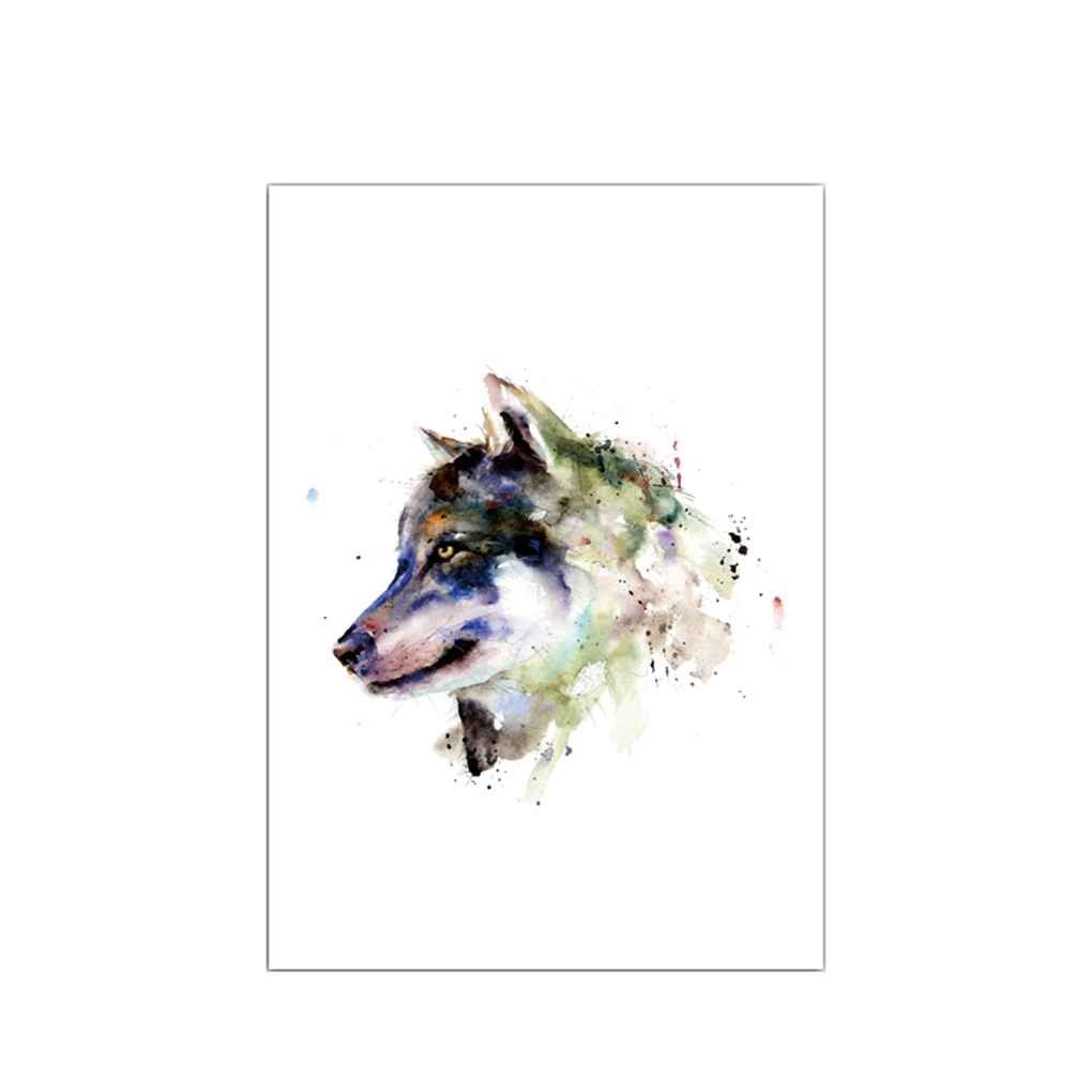 LUFA Multicolor Head of Wolf Patterns Printed Canvas Painting Hang Wall Decoration for Living Room Art Picrtures
