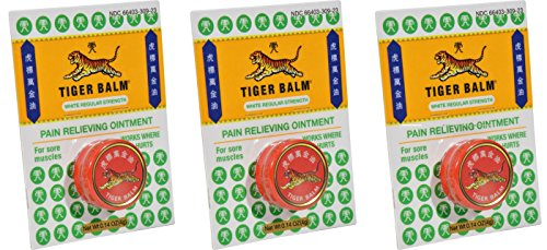 Tiger Balm White Pain Relieving Ointment (Pack of 3) with Camphor, Menthol, Cajuput Oil, Eucalyptus Oil, Clove Oil and Cassia Oil, 4g (Menthol Camphor Ointment)
