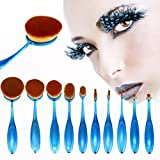 Sankuwen 10PCs Powder Foundation Face Makeup Oval Loose Brush Sets, Brush Stand to Choose (Blue)
