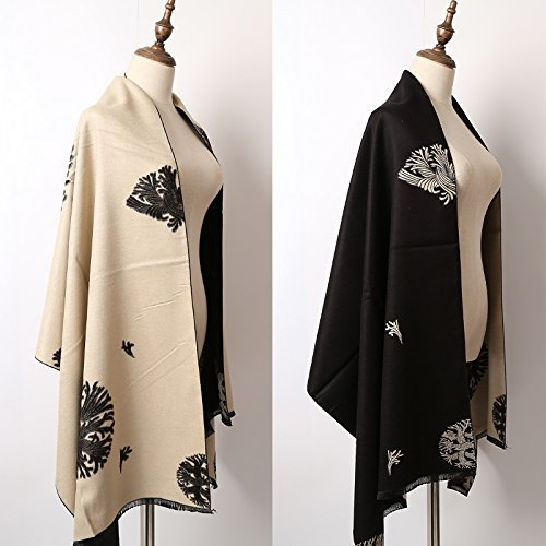 (SED Scarf-Current Su Shawl Autumn and Winter Female Thick Warm Scarf Imitation Cashmere Scarf Female Autumn and Winter Korean Students Knitted Shawl Long,Black Beige)