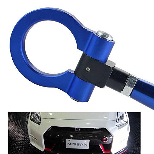 DEWHEL JDM Folding Screw On Racing T2 Tow Hooks Front Rear Nissan 350Z 370Z Juke GT-R Infiniti G37/Q60 Coupe Blue