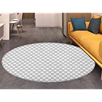 Abstract Print Area rug Geometric Grid Style Wavy Stripes in a Circular Pattern Abstract Modern Design Perfect for any Room, Floor Carpet Black White