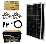 WINDYNATION 200 Watt Solar Panel Kit: 2pcs 100W Solar Panel + 20A LCD Display PWM Charge Controller + MC4 Connectors + Mounting Z Brackets + 100ah AGM Deep Cycle 12V Battery for Off Grid, RV, Boat