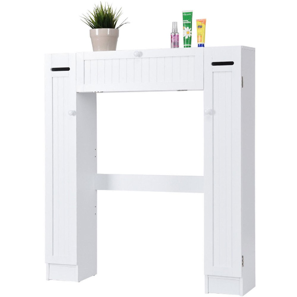 DOVA Over Toilet White Bathroom Cabinet Toilet Space Saver Storage Shelf Spacesaver Bundle w/ [TM] Trash Can
