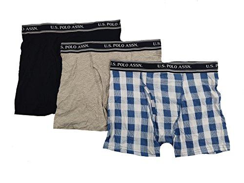 U.S. Polo Assn. Mens 3 Pack Stretch Boxer Briefs (Black/Heather Grey/Checkered Blue & White, L)