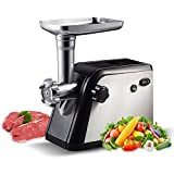Homeleader Electric Meat Grinder, Meats Mincer with 3 Grinding Plates and Sausage Stuffing Tubes, Household & Commercial, Stainless Steel