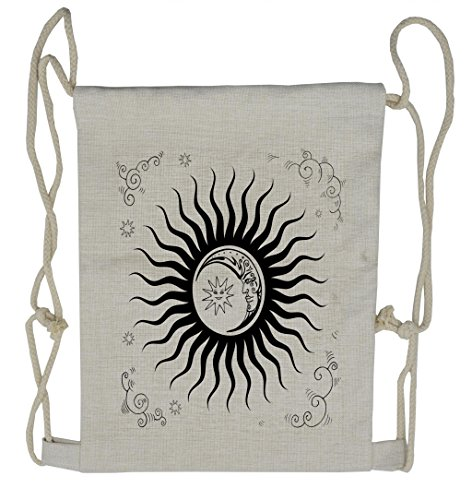 Lunarable Sun and Moon Drawstring Backpack, Alchemy Doodle, Sackpack Bag