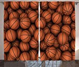 Ambesonne Sports Decor Collection, Basketballs The Two-Handed Slam Practice Athletic Events Illustration Image Pattern, Living Room Bedroom Curtain 2 Panels Set, 108 X 84 Inches, Dark Orange