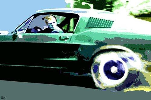 LAMINATED Steve McQueen Pop Art Mustang Bullitt - Poster Measures 23.5