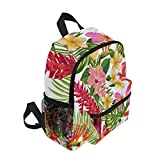 Tropical Flowers Palm Leaves Seamless Childrens double backpack cute animal cartoon backpack male baby girl