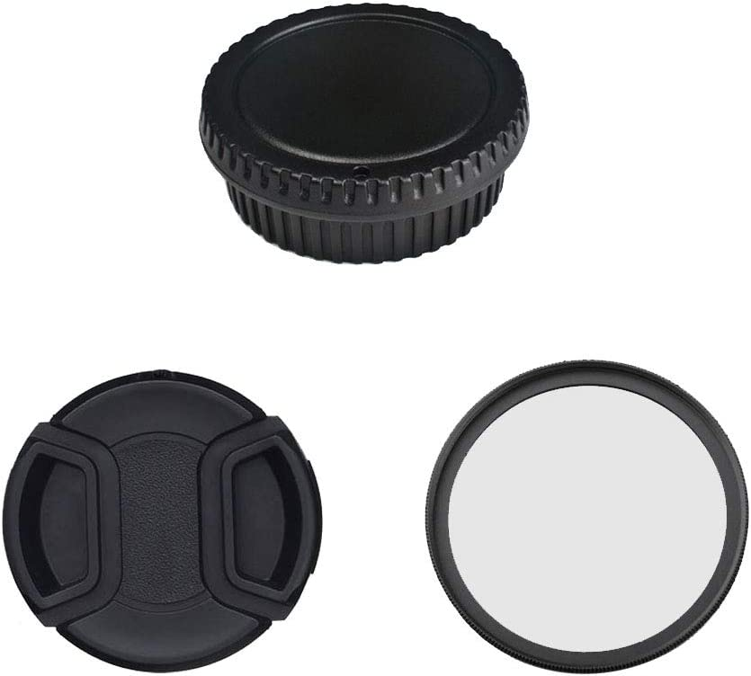 RENYD 49mm Snap on Center Pinch Front Lens Cap and Rear Lens Cap and UV Fliter and Body Cap Replacement for Canon Protective Anti-dust Camera Lens Protector