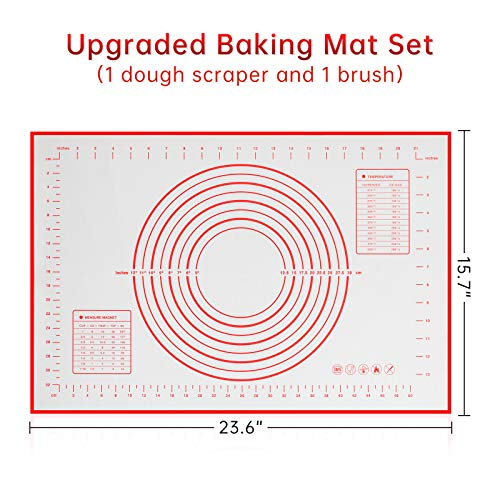 """Silicone Pastry Mat, 23.6"""" x 15.7"""" Non-stick Baking Mat with Measurement Non-slip Fondant Mat for Rolling Dough Pie Crust Pizza Cookies, Red"""