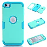iPod Touch 5 Case,iPod Touch 6 Case, NOKEA Layered 3in 1 Hard PC Case Silicone Shockproof Heavy Duty High Impact Armor Hard Case for Apple iPod Touch 6 5th Generation (Mint+Blue)