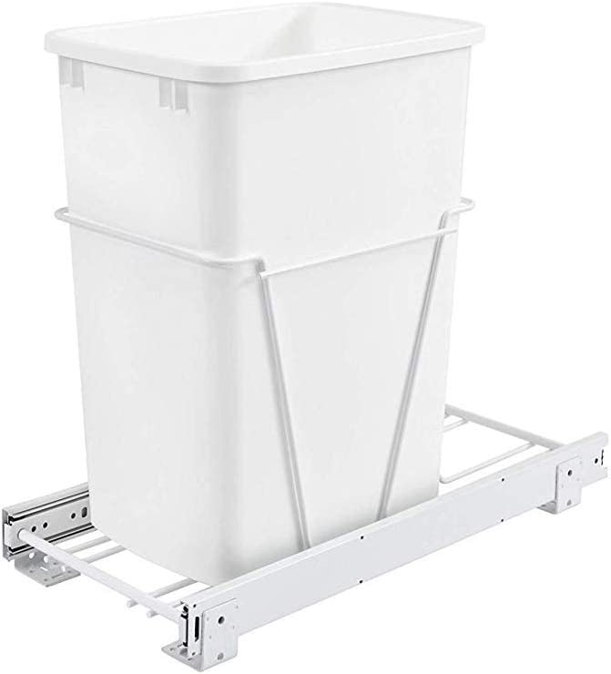 Rev-A-Shelf RV-12PB S 35 Quart Pull Out Waste Container with Basket, White