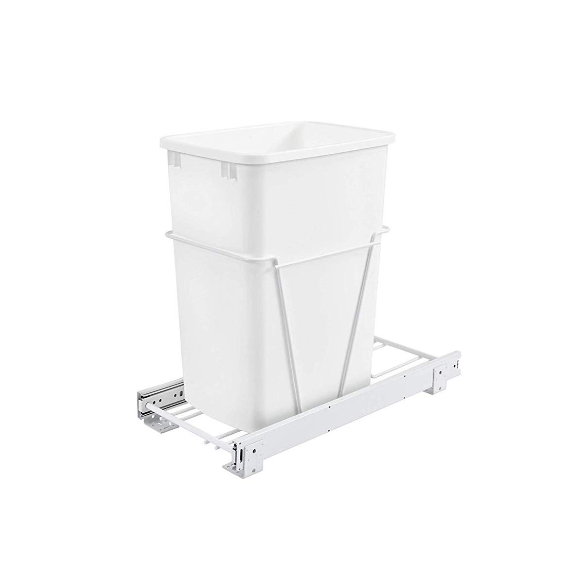 Rev-A-Shelf RV-12PB S 35 Quart Pull Out Waste Container with Basket, White by Rev-A-Shelf