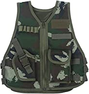 Children Tactical Vest, Camouflage Type Kids Security Guard Waistcoat Cs Field Combat Training Military Army V