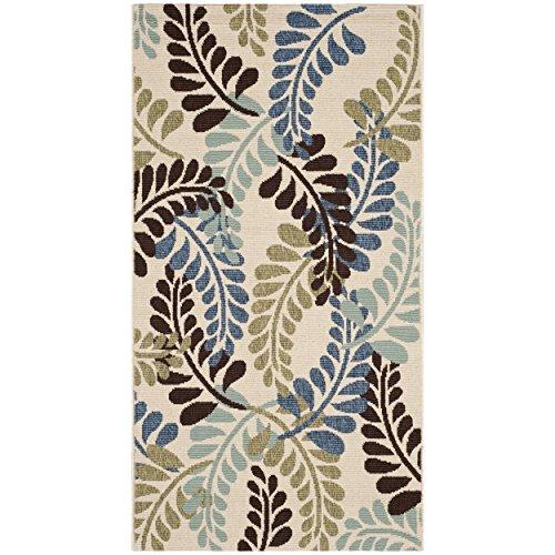 Safavieh Veranda Collection VER056-0613 Indoor/ Outdoor Cream and Aqua Contemporary Area Rug (2'7