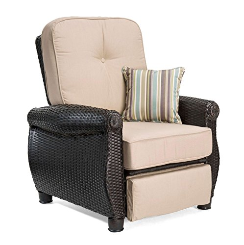La-Z-Boy Outdoor Breckenridge Resin Wicker Patio Furniture Recliner (Natural Tan) with All Weather Sunbrella Cushions (Clearance Wicker Furniture Resin Patio)