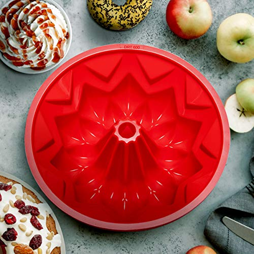 Lorchar Silicone Mould for Baking, Cake Tins for Baking, 10 Inch Silicone Cake Moulds for Baking, Cake Mould for Cheesecake, Jelly, Gelatin, Baking Tin with BPA-Free, Baking Gifts