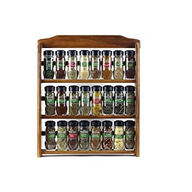 McCormick Gourmet Spice Rack, Three Tier Wood, 24-Count (Assorted)