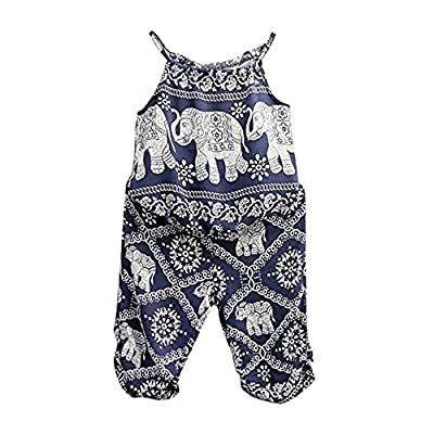 BiggerStore 2Pcs/Set Kids Baby Girls Jumpsuit Romper, Elephant Straps Tops+Harem Pants Outfit