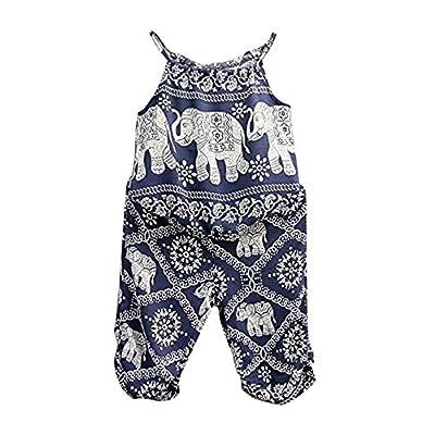 BiggerStore 2Pcs/Set Kids Baby Girls Jumpsuit Romper, Elephant Straps Tops+Harem Pants Outfit