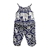 2Pcs/Set Kids Baby Girls Elephant Jumpsuit Romper, Straps Tops+Harem Pants Outfit (2-3 Years, Blue)