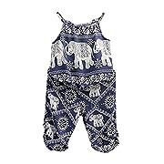 2Pcs/Set Kids Baby Girls Elephant Jumpsuit Romper, Straps Tops+Harem Pants Outfit (2-3 Years, Blue)