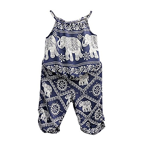 2Pcs/Set Kids Baby Girls Elephant Jumpsuit Romper, Straps Tops+Harem Pants Outfit (2-3 Years, Blue) ()